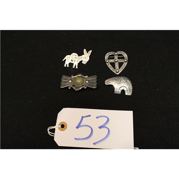 Set Of 4 Mexican Silver Pins and Broaches