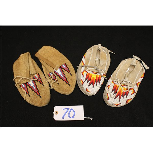 Two Pairs Plateau Beaded Moccasins