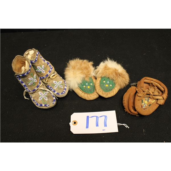 Three Pairs Of Native American Children Moccasins