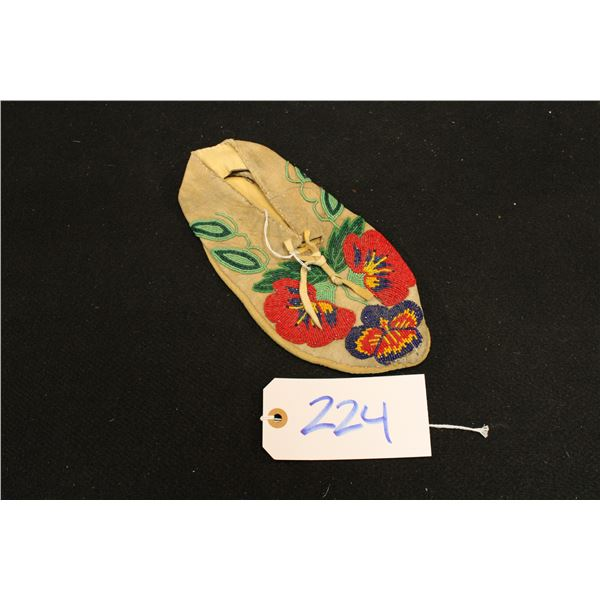 Hand Stitched Glass Bead Single Moccasin