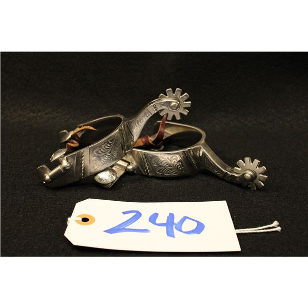 GF Marked Silver Overlay Texas Style Spurs