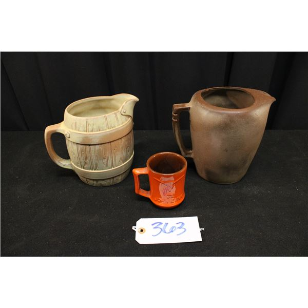 Two Pitchers and One Cup Francoma Pottery
