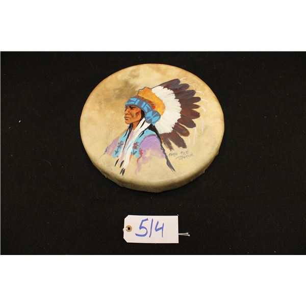 George Flett Painted Drum With Chief