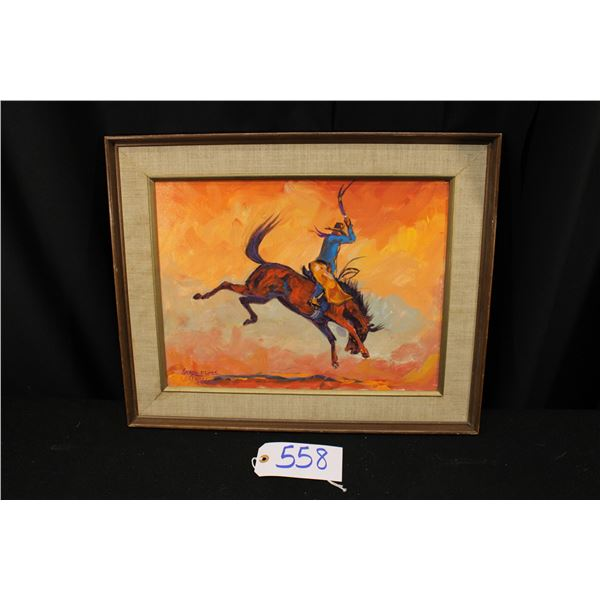 George Flett Original Painting of Bronc Rider
