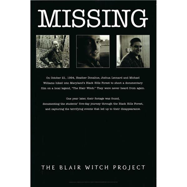 The Blair Witch Project 1999 original one sheet movie poster