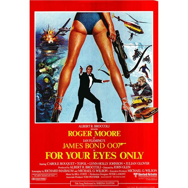 For Your Eyes Only 1981 original vintage International one sheet movie poster