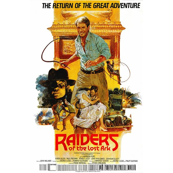 Raiders of the Lost Ark 1982 original vintage British one sheet movie poster