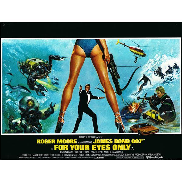 For Your Eyes Only 1981 original vintage British quad movie poster.
