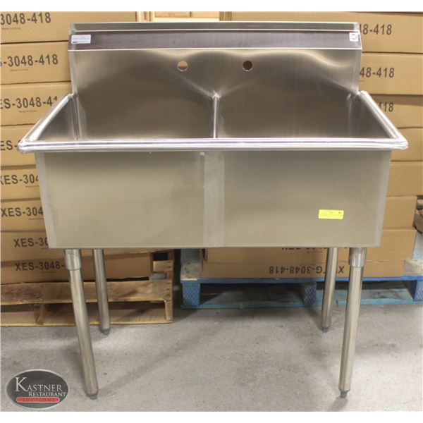 NEW STAINLESS STEEL 2-WELL SINK