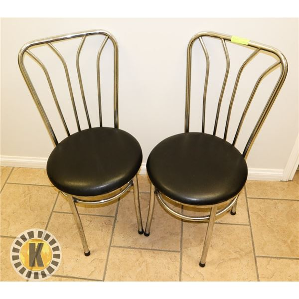 PAIR OF 2 RESTAURANT CHAIRS- CHROME AND BLACK