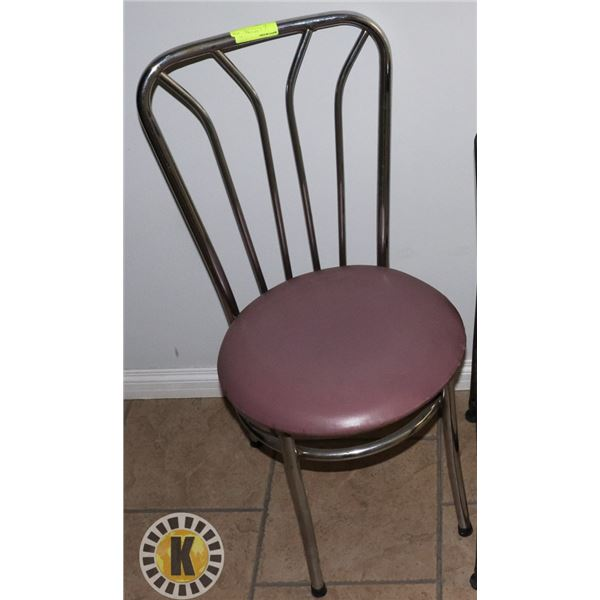 1 RESTAURANT CHAIR - CHROME AND BROWN