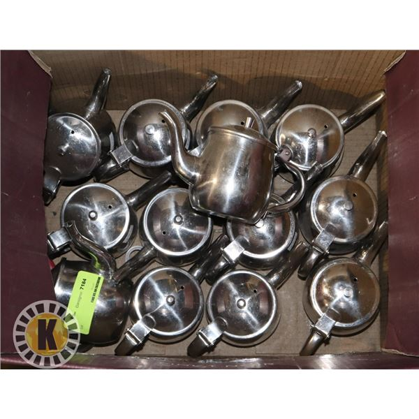 BOX OF STAINLESS MINI TEA KETTLES