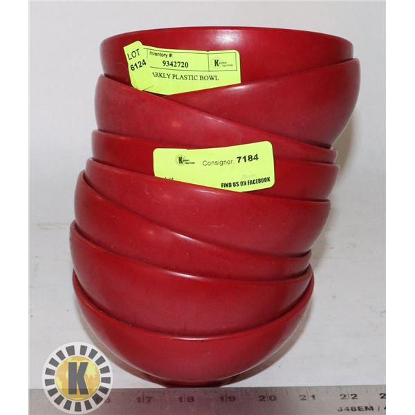 8 RED SPARKLY PLASTIC BOWL