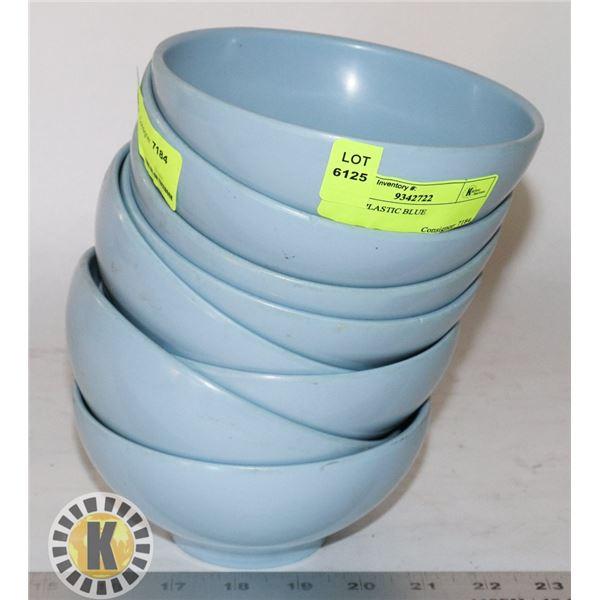 8 BLUE PLASTIC BOWLS