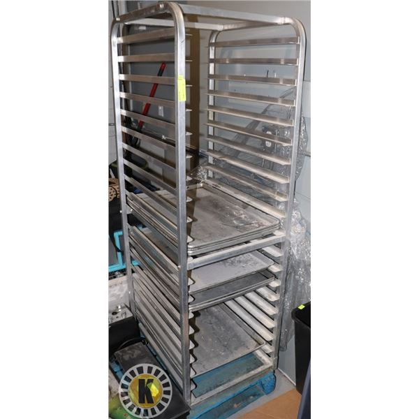 ROLLING BAKERS OVEN RACK WITH 7 BAKING SHEETS