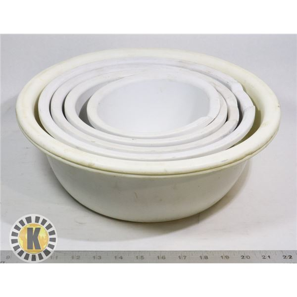 5 BOWLS- WHITE, ASSORTED SIZES