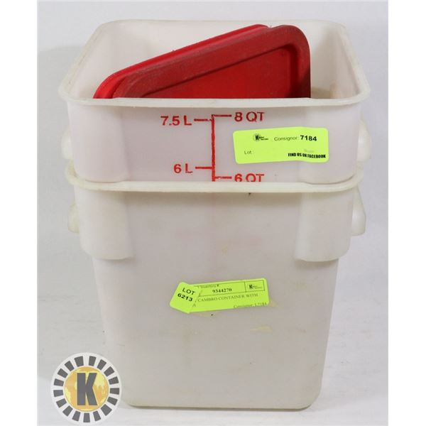 2 8QT CAMBRO CONTAINER WITH LIDS