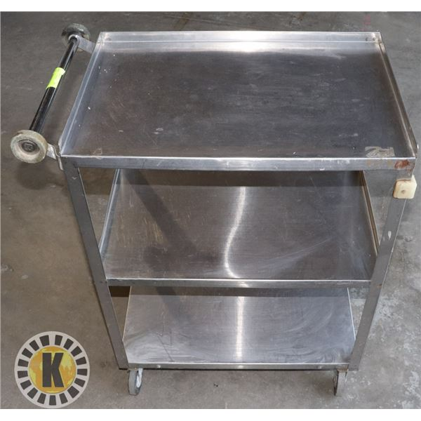 3 TIER STAINLESS STEEL BUS CART ON CASTERS