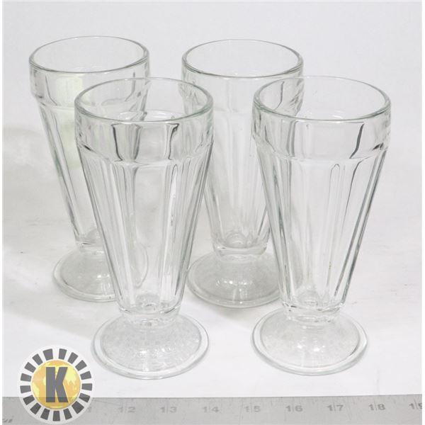 4 MILKSHAKE GLASSES