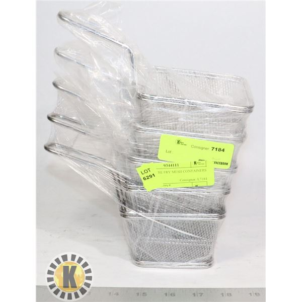 5 NEW WIRE FRY MESH CONTAINERS