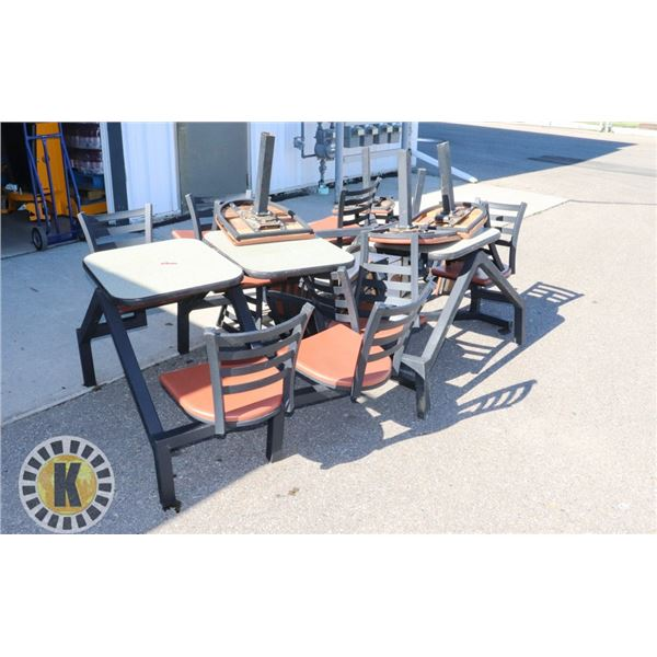 LOT OF 8 MCDONALD'S TABLES WITH ATTACHED CHAIRS
