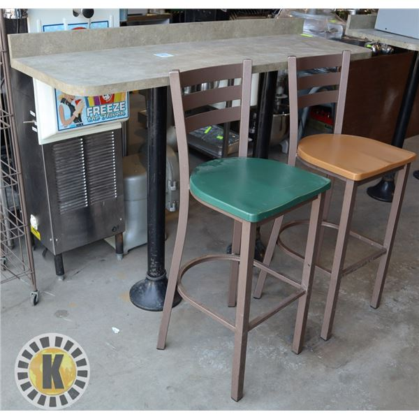 WALL MOUNT RESTAURANT TABLE AND 2 TALL CHAIRS
