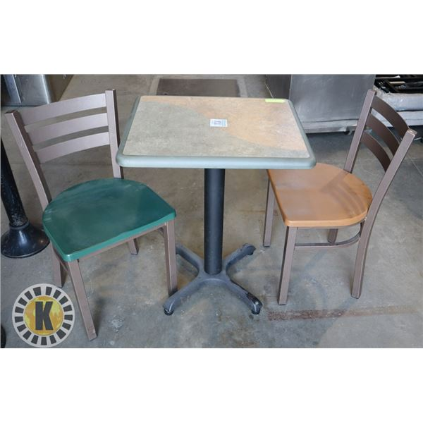 2 SHORT RESTAURANT CHAIRS AND 1 SHORT TABLE