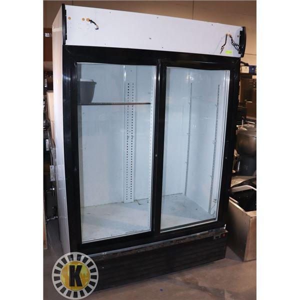 2 DOOR SLIDING GLASS COOLER. WORKING, NO SHELVES