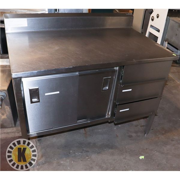 STAINLESS STEEL WORK TABLE WITH 3 DRAWERS AND