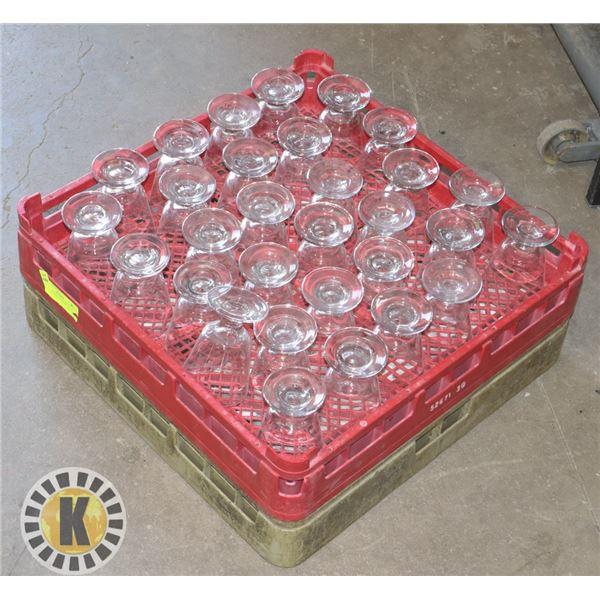 30 GLASS CUPS AND DISH RACKS
