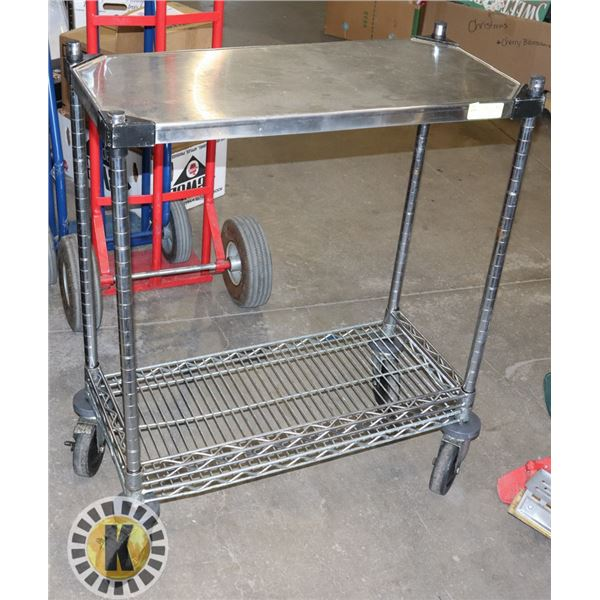 2 TIER METRO CART WITH STAINLESS TOP ON CASTERS