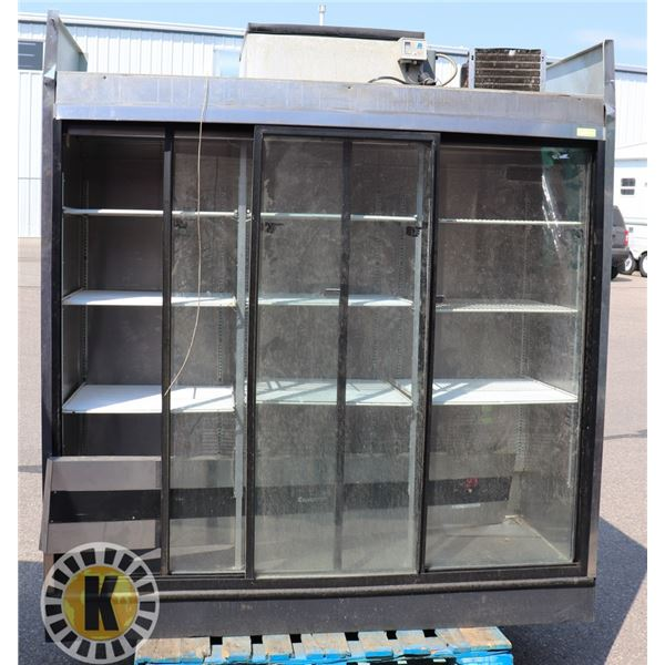 COLD STREAM 3 DOOR SLIDING GLASS COOLER. AS IS