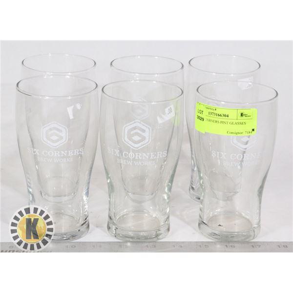 SET OF 6 CORNERS PINT GLASSES