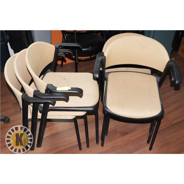 6 BEIGE CHAIRS- STACKABLE