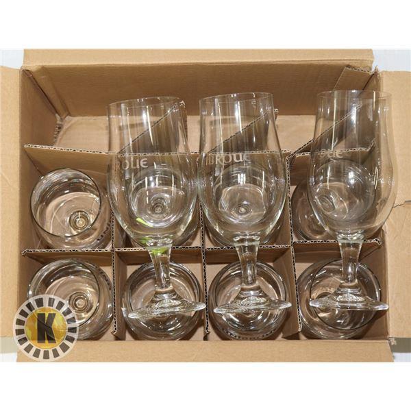 BOX OF 11 UNIBROUE 16.OZ GLAS CUPS