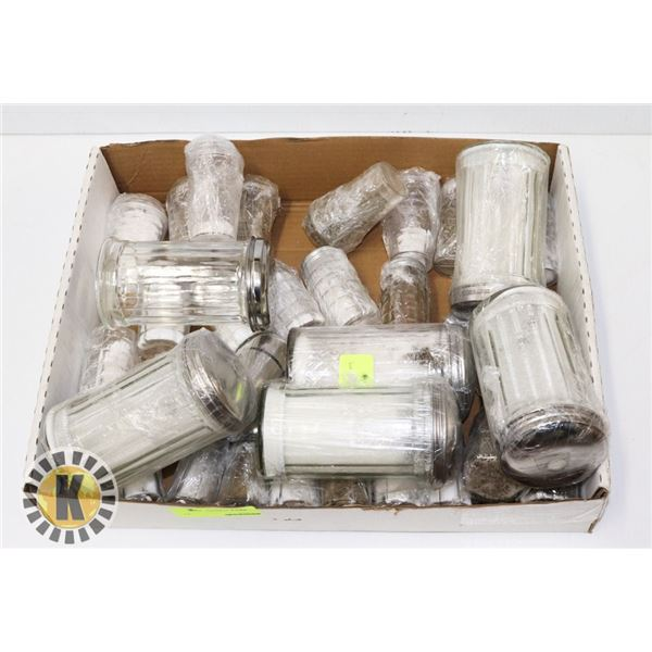 FLAT OF SALT SHAKERS- ASSORTED SIZES