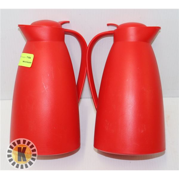 2 RED INSULATED COFFEE OR CONDIMENT HOLDERS