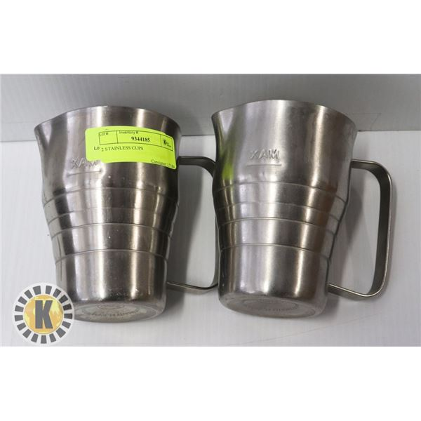 TWO STAINLESS STEEL CREAM FROTHING MUGS