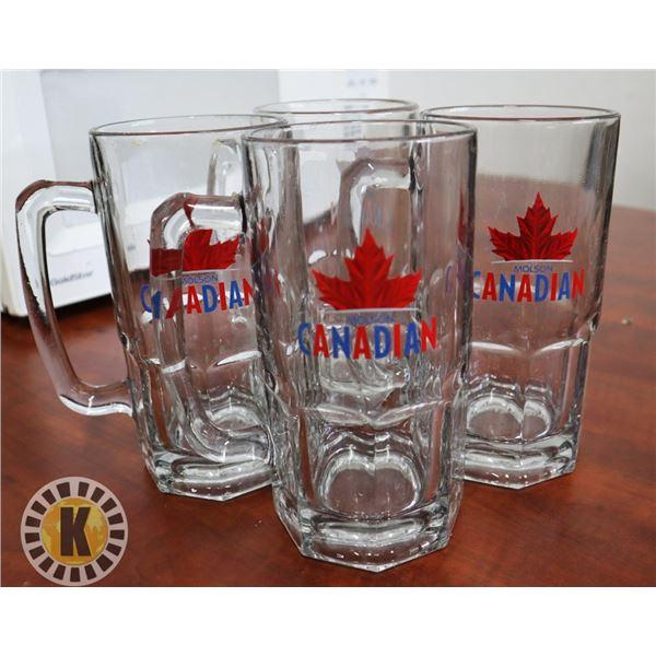 4 MOLSON CANADIAN BEER MUGS