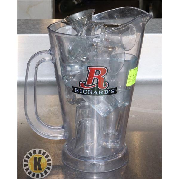RICKARD'S BEER SERVER FULL OF SHOT GLASSES