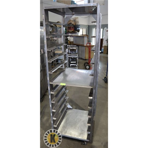 STAINLESS STEEL WHEELED BAKERS RACK WITH 11