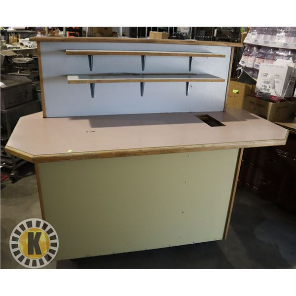 LARGE CONDIMENT TABLE WITH BUILT IN GARBAGE CAN, ON CASTORS