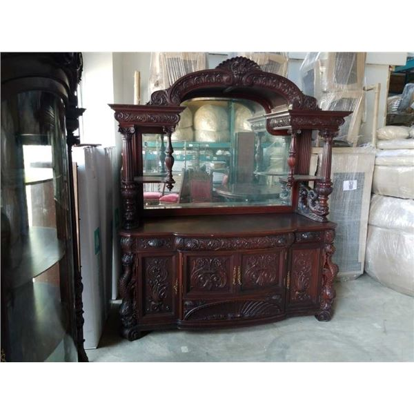 VICTORIAN MAHOGANY SIDEBOARD CA 1860s-70s FULL BACK ARCHED MIRROR, CARVED DOLPHIN SUPPORTS - MAHOGAN