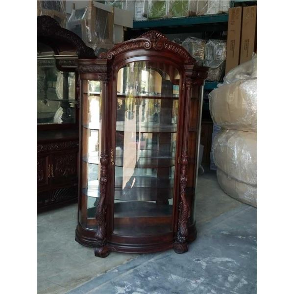 VICTORIAN MAHOGANY CHINA CABINET CA 1860s - 70s CURVED GLASS, MIRROR BACK, HIGHLY CARVED - SINGLE DO