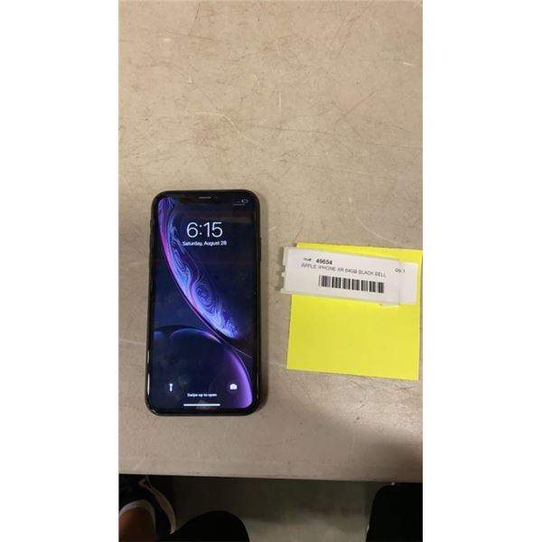 APPLE IPHONE XR 64GB BLACK BELL NETWORK - READY TO USE, RESET TO FACTORY SETTINGS