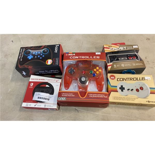 2 NEW NES NINTENDO ENTERTAINMENT SYSTEM CONTROLLERS, NEW N64 CONTROLLER AND SWITCH JOY CON RACING WH