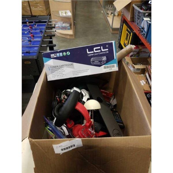 BOX OF ELECTRONICS, HEADPHONES