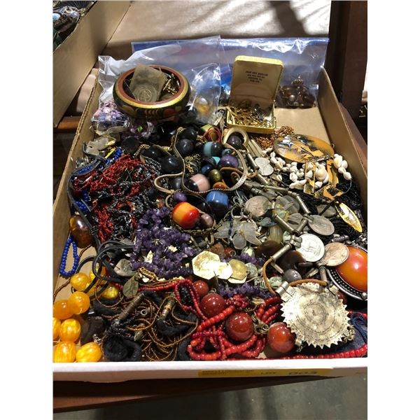 Box of assorted estate jewellery & accessories