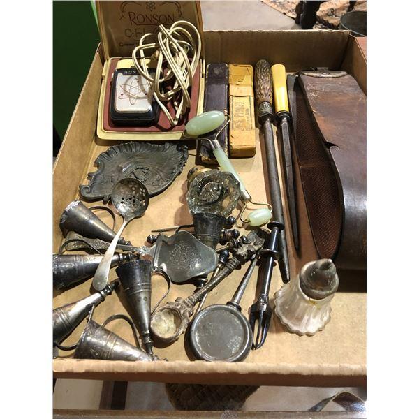 Box of assorted vintage items - straight razers/ electric razer/ glass door knob etc.