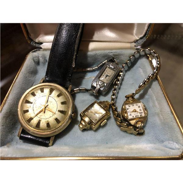 Group of 4 vintage wrist watches - men's Lucerne, ladies NPA/ ladies Elgin & ladies Benrus